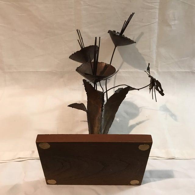 Brutalist Floral Metal Sculpture - Image 8 of 11