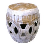 Image of Large Rope Design Ceramic Garden Stool