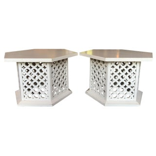 Vintage Hexagon Side Tables - A Pair