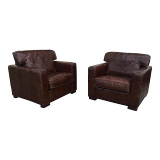 Distressed Leather Club Chairs - A Pair