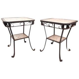 Cast Iron Mosaic Tile End Tables - a Pair