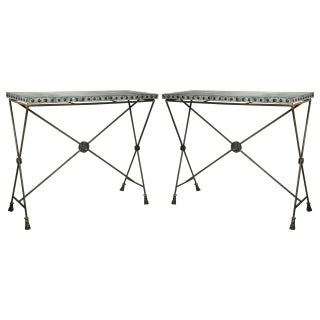 Iron Zinc Top X-Form Console Tables - Pair