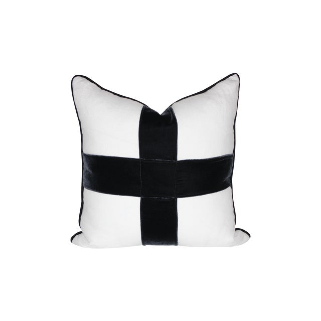 Image of Indigo Velvet Cross Pillow