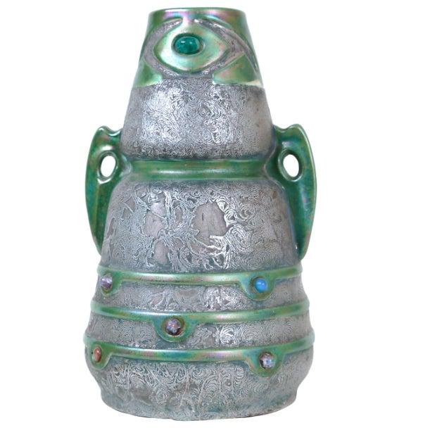 Image of Jeweled Austrian Art Nouveau Vase
