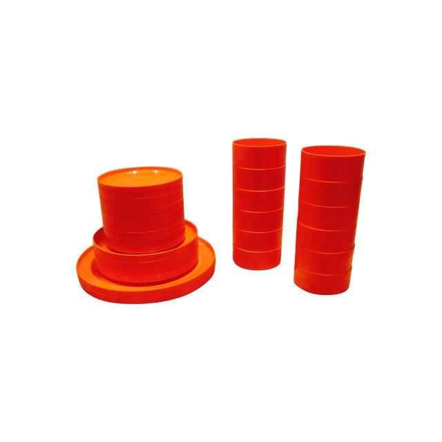 Image of Heller Vignelli Stacking Orange Plate Bowl 30 Pcs