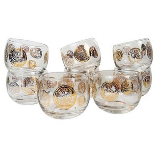 1950s Gold Coin Roly Poly Glasses - Set of 8