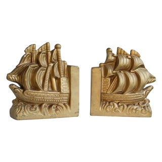 Gold Nautical Book Ends - A Pair