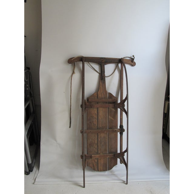 Image of Vintage Wood and Metal Winter Sled