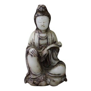 Chinese Oriental White Stone Carved Kwan Yin Statue Figure