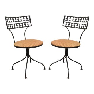 Original Salterini Style Mid Century Modern Wrought Iron Swivel Chairs - A Pair