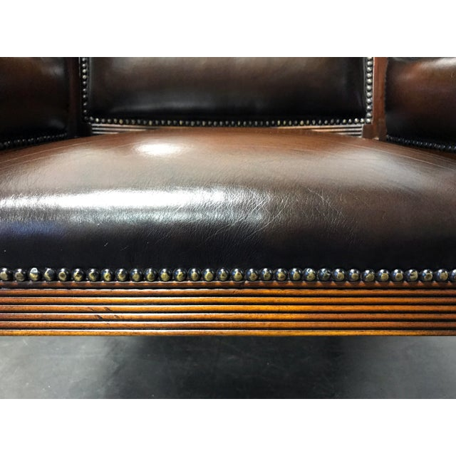Theodore Alexander Leather Lion Head Chairs - A Pair - Image 10 of 11