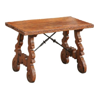 French 1920s Carved Oak Low Side Table with Iron Stretcher and Lyre-Shaped Legs