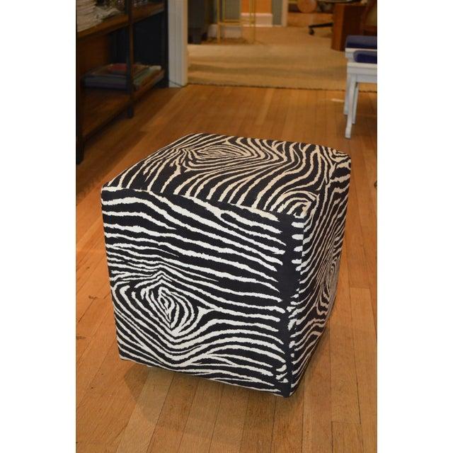 Faux Zebra Print Ottoman Chairish