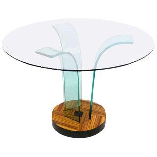 New Era Round Glass Zebrawood Center Table