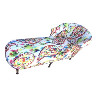 Paisley Watercolor Upholstered Chaise