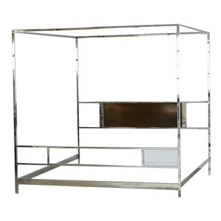 Cubistic King-Size Four-Poster Chrome Canopy Bed in the Style of Milo Baughman