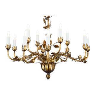 Vintage Gold Leaf Tole Chandelier