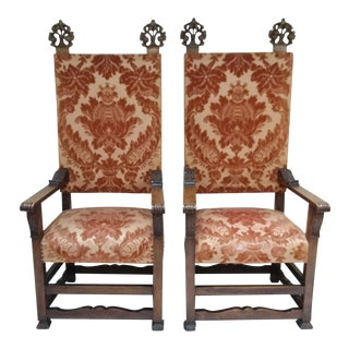 Throne Chairs With Ornate Finials - Pair