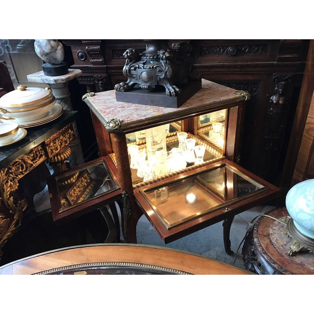 Antique Fine French Marble Top Gilt Bronze Mounted Inlaid Bar Liquor Cabinet - Image 3 of 11