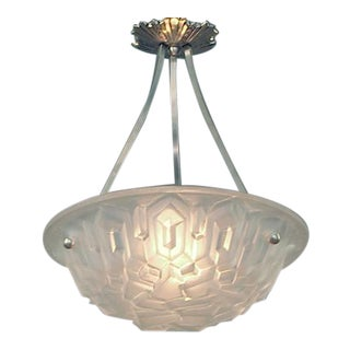 "French Lighting Bowl by Degué, ""Ice"" motif"