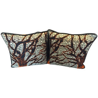 African Orange & Black Wax Pillows - A Pair