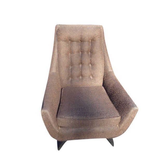 Mid-Century Modern Tufted Brown Club Chair - Image 1 of 9