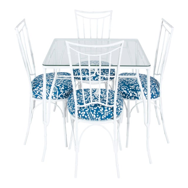 Chinoiserie White Powder-Coated Metal Faux Bamboo Dining Set - Image 1 of 9