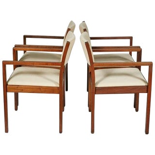 Gunlocke Walnut Office Armchairs - Set of Four