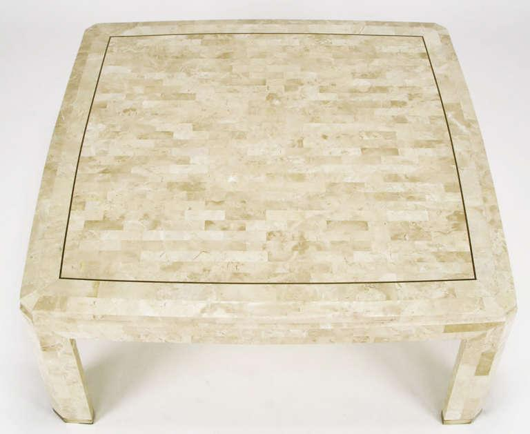 Tessellated Fossil Stone U0026 Brass Inlaid Coffee Table   Image 4 ...