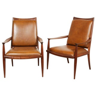 John Nyquist Leather and Walnut Armchairs, Pair