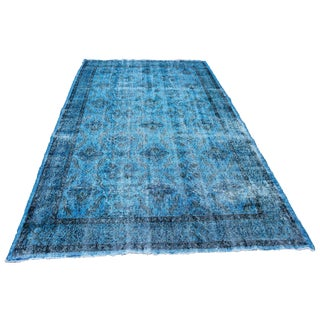 Overdyed Blue Rug - 5′10″ × 9′2″