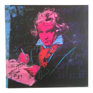 Andy Warhol Original Offset Lithograph Poster of Beethoven in Pink