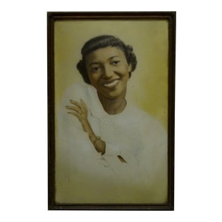 "Circa 1920 Vintage ""Pretty Black Woman"" Bubble Glassed Framed Photograph"