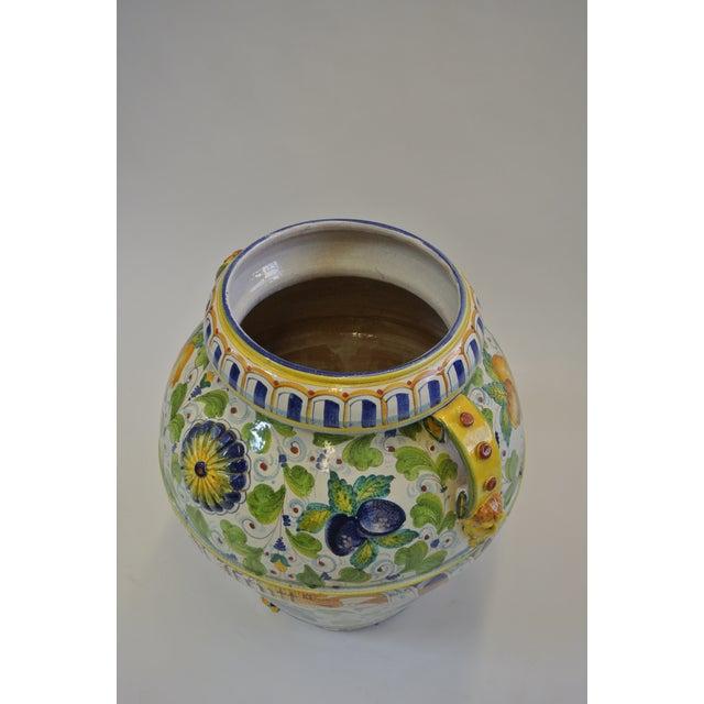 Italian Majolica Fruit Painted Urn - Image 4 of 7