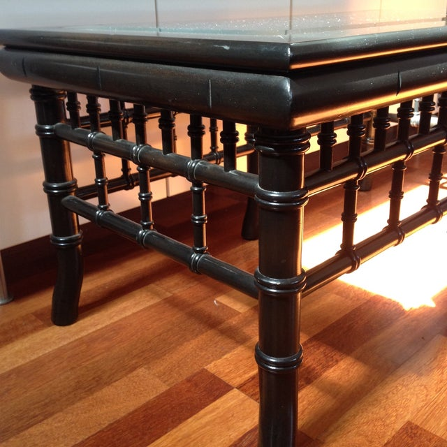 Black Faux Bamboo Coffee Table With Glass Top - Image 4 of 8