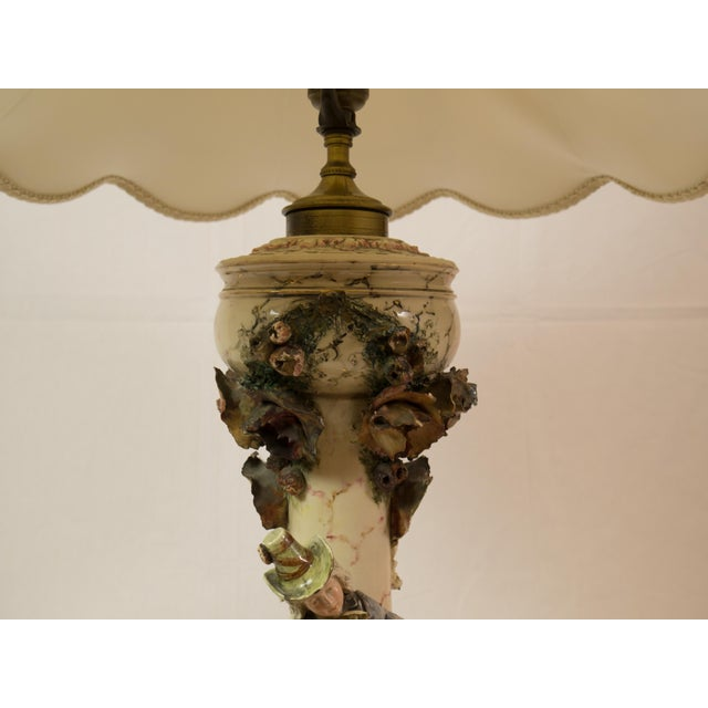 Majolica French Pottery Lamp - Image 5 of 8