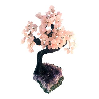 Rose Quartz & Amethyst Tree Sculpture