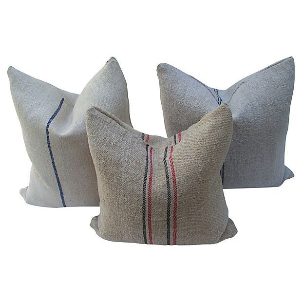 Image of Striped Linen Feed Bag Pillows - Set of 3