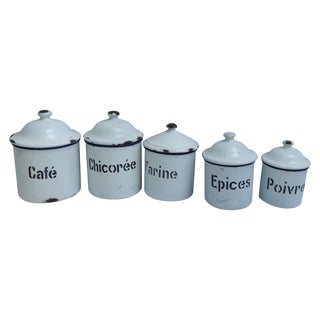 Antique French White Enamel Canisters - Set of 5