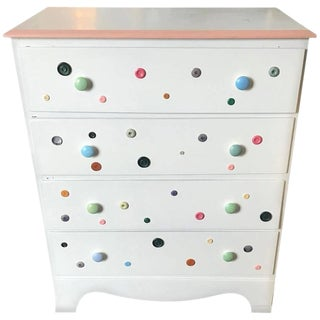 Pink Perimeter and White Top Dovetailed Button Dresser