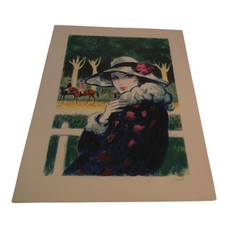 Vintage Silkscreen Lithograph of Woman
