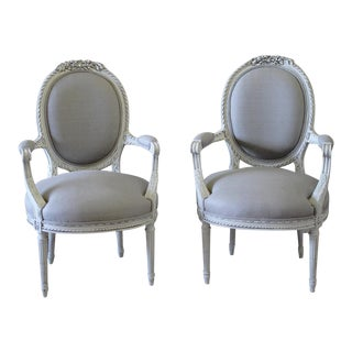 Antique French Louis XVI Armchairs in Linen - A Pair