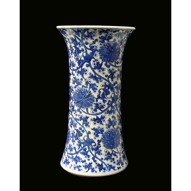 Chinese Vintage Blue & White Flower Porcelain Vase - Image 3 of 8
