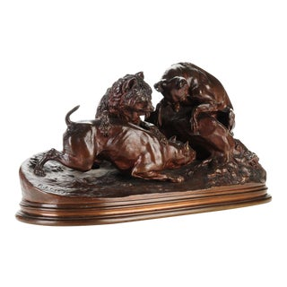 "Pierre-Jules Mene '3 dogs Ferreting"" Original Bronze Sculpture c.1890s"