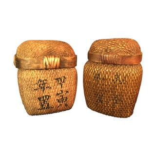 Japanese Covered Baskets - A Pair