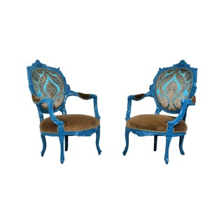 Antique French Blue Peacock Chairs - a Pair