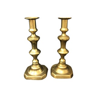 Antique Brass Push Up Candlesticks