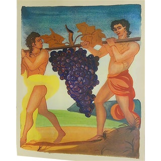 Vintage Lithograph Celebrating French Wine