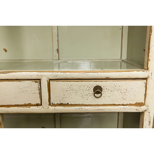 Chinese Cream Lacquered Open Shelf Cabinet - Image 4 of 6