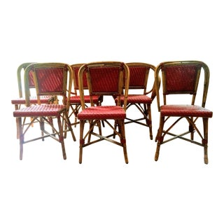 Vintage Woven French Bistro Chairs - Set of 6